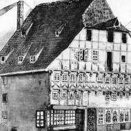 Abb. 13 Links das Gemälde des 1581 errichteten, ratseigenen Gebäudes (17. Jh., Quelle: NLD) .