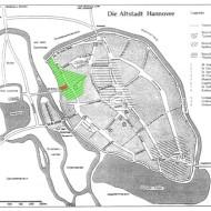 Abb. 2 Rekonstruktion des Altstadtgebietes um 1350 (grün = Lehnhofsiedlung, rot = Grabungsfläche